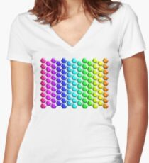 Rainbow Honeycomb Women's Fitted V-Neck T-Shirt