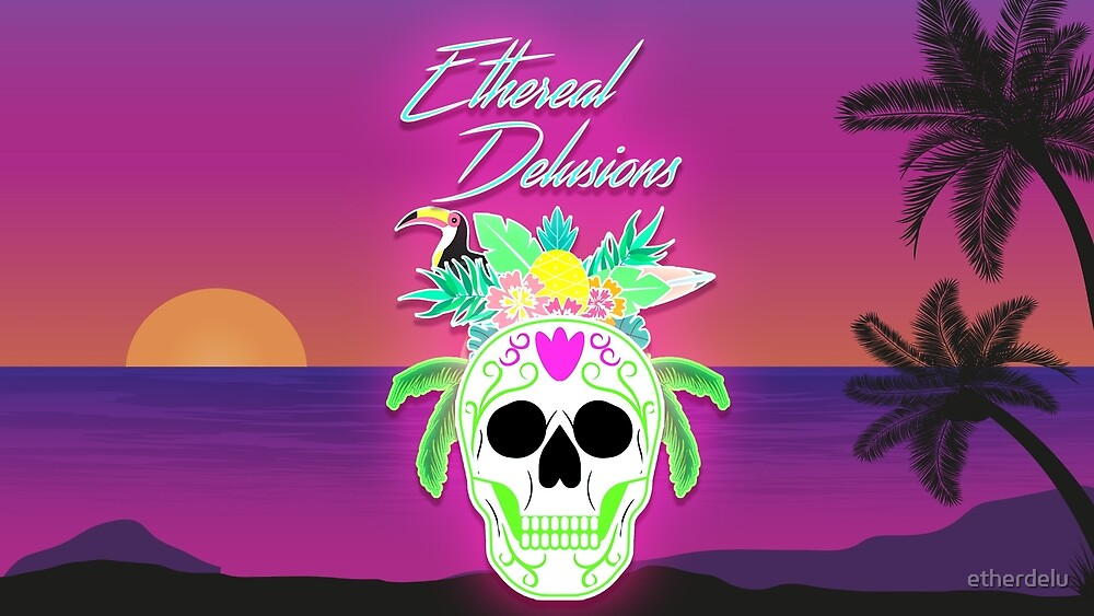 Skull and Palms  by etherdelu