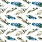Bohemian Style Watercolor Feather Pattern by IconicTee