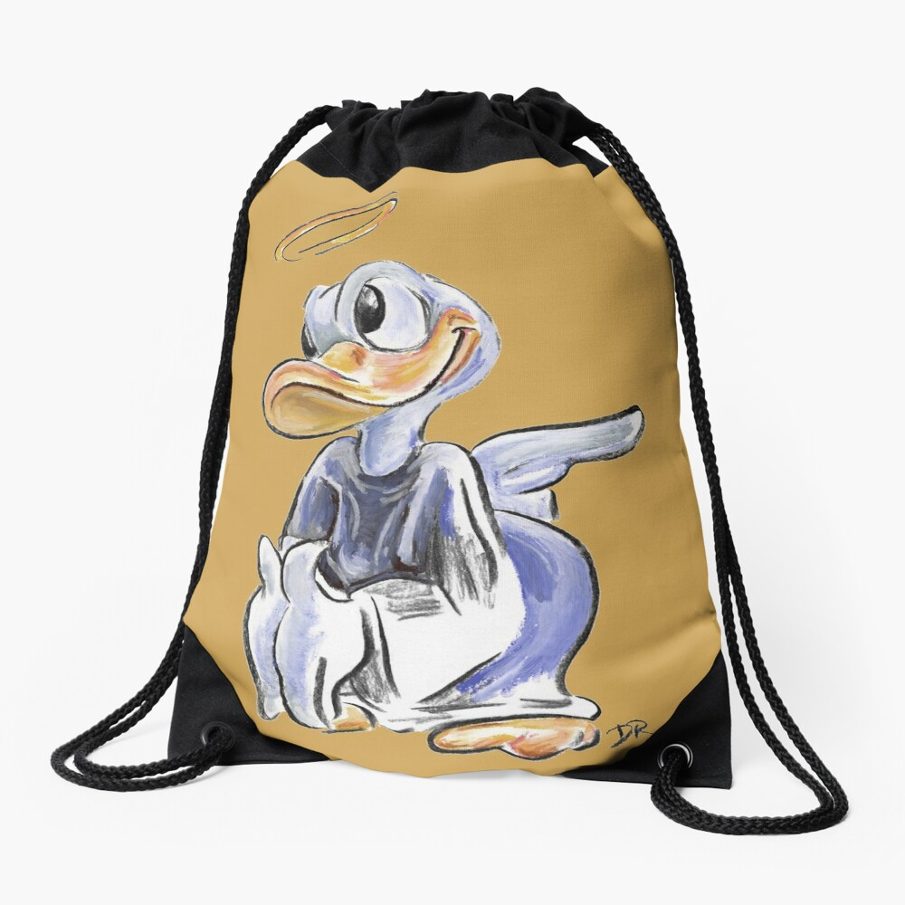 Charcoal and Oil - Angel Donald Duck Drawstring Bag Front