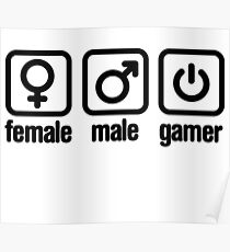 Female - Male - Gamer Poster