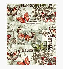 802 Floral, Retro Butterfly Pattern Print Photographic Print