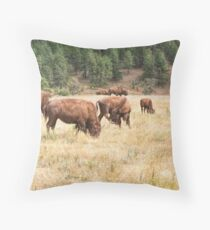 Bison Grazing Throw Pillow