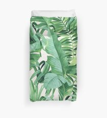 Green tropical leaves II Duvet Cover