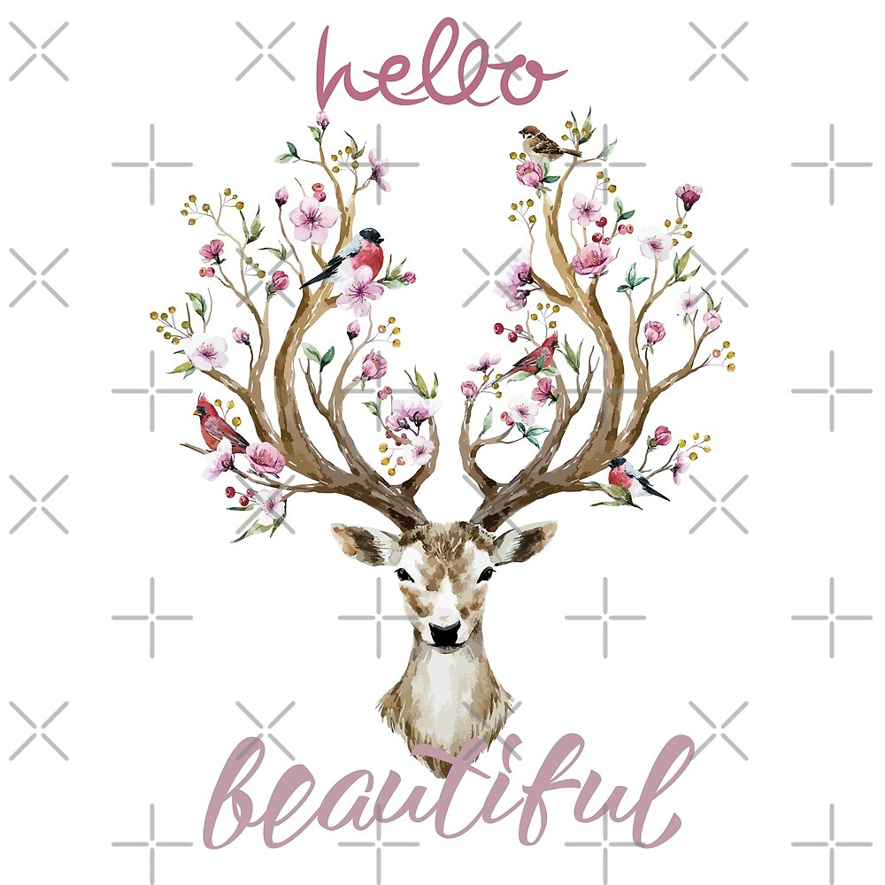 Hello Beautiful  Floral BOHO Deer   by IconicTee