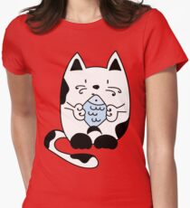 Cat with a fish Womens Fitted T-Shirt