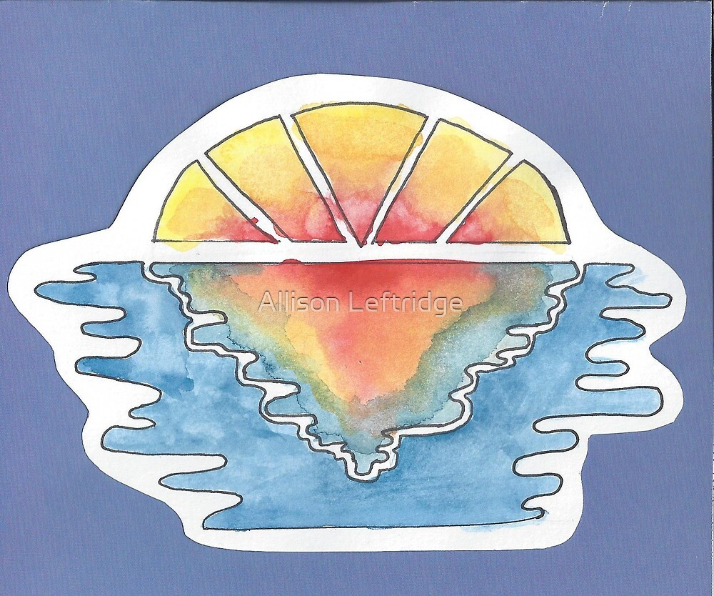 Shattered Watercolor Sunset by Allison Leftridge