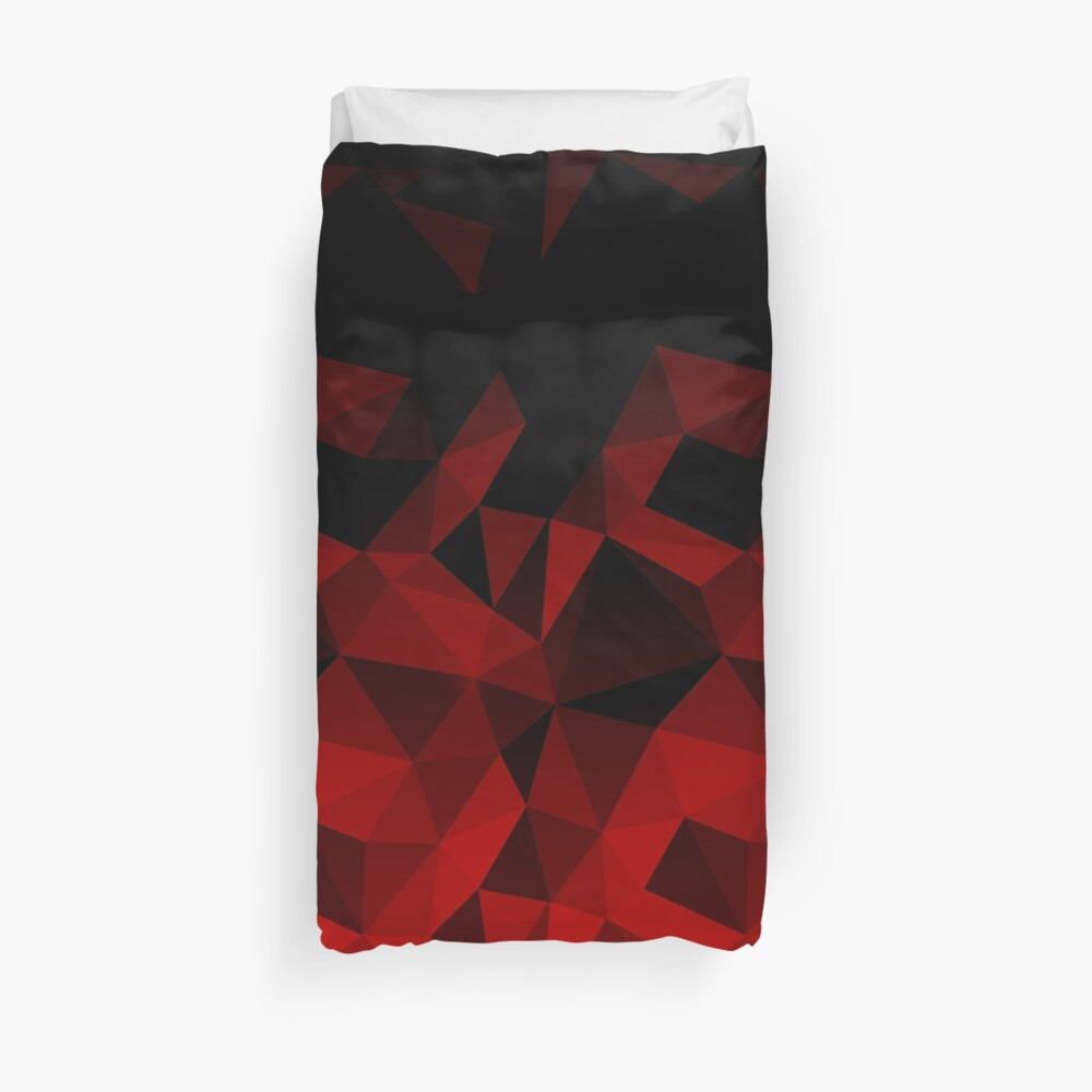 Abstract polygonal pattern .Red, black triangles. Duvet Cover