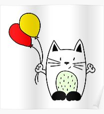 Cat with balloons Poster