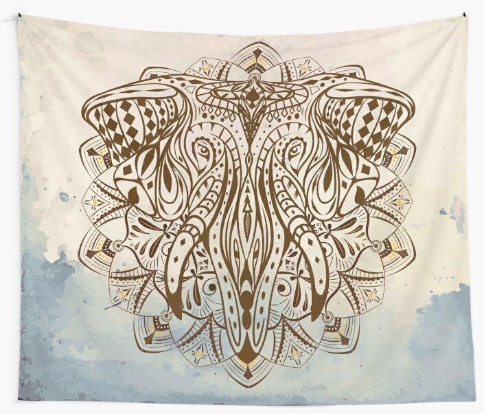 Abstract Elephant Mandala by NomadicMarket