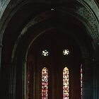 Non Centred Nave ceiling St Francis Church Switzerland 19840817 0027 by Fred Mitchell