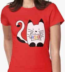 HELLO - CAT Womens Fitted T-Shirt