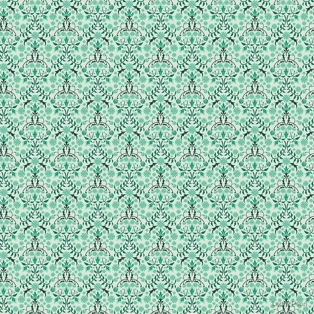 Turquoise Floral Wallpaper Pattern William Morris By Laura Penn