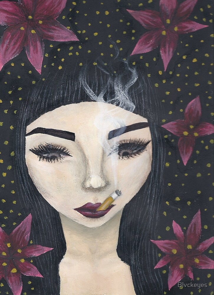 Smoking woman with flowers by Blvckeyes