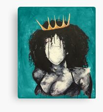 Naturally Queen I TEAL Canvas Print