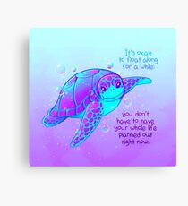 """It's okay to float along"" Colorful Sea Turtle Canvas Print"