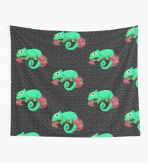 chameleon with flowers Wall Tapestry