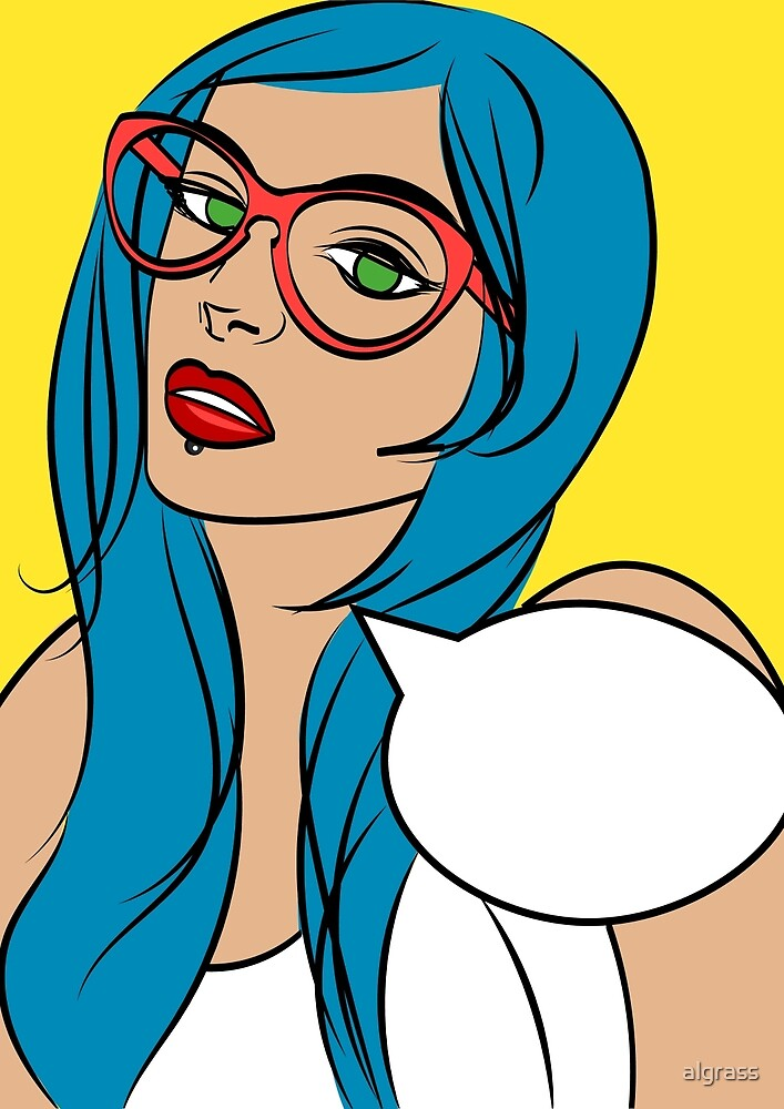 Beautiful hipster girl in glasses by algrass