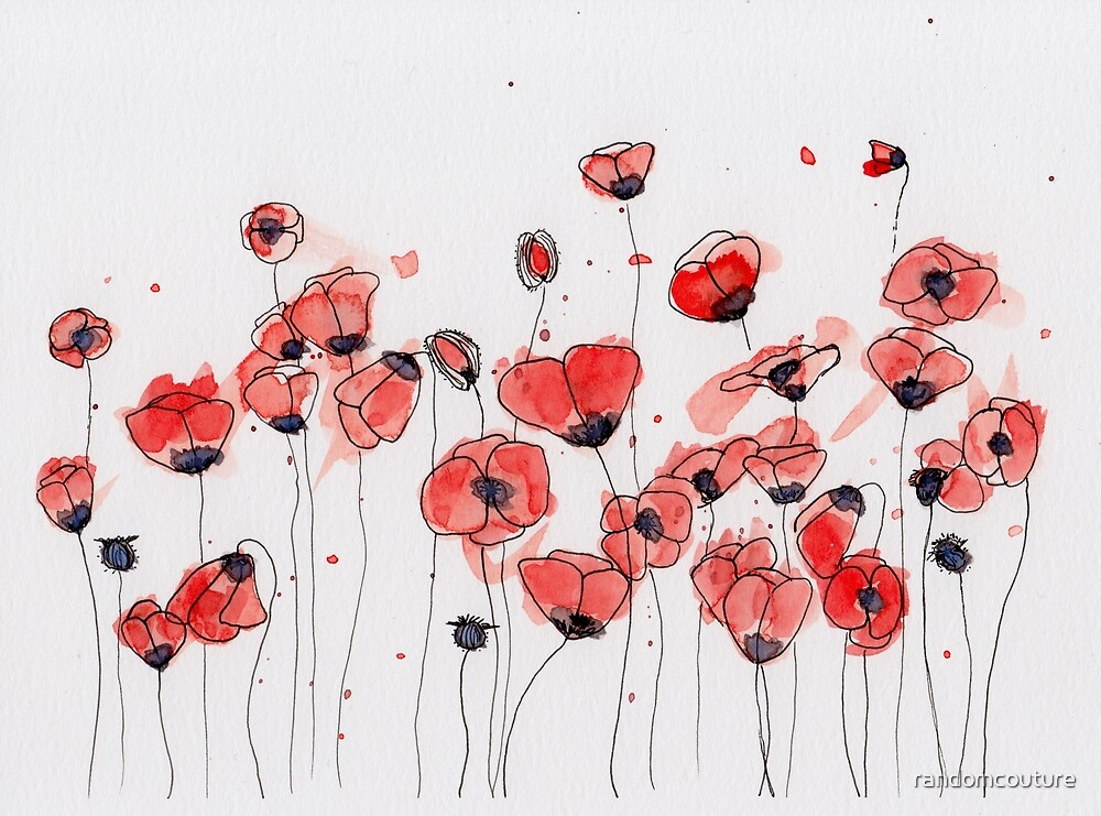 Watercolor Poppies by randomcouture