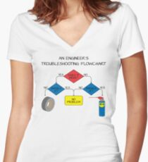 Engineering Flowchart Women's Fitted V-Neck T-Shirt