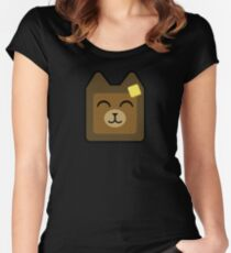 Cute Bear Buttered Toast Women's Fitted Scoop T-Shirt