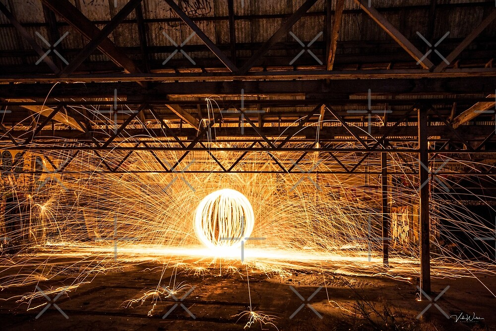 """An Orb"" Steel Wool Spinning at an abandoned warehouse in Yarraville by VickiWalsh"