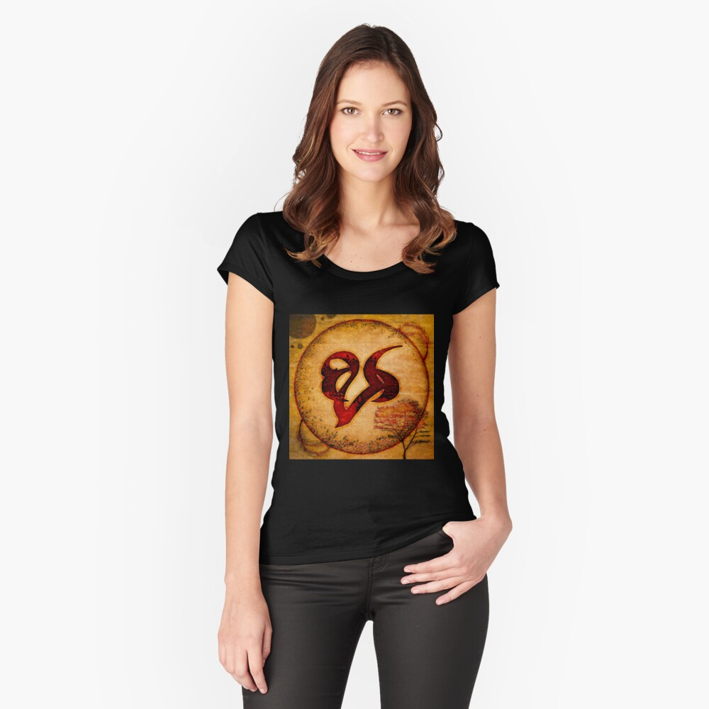 Wood Burn Remembrance/Mourning Rune Women's Fitted Scoop T-Shirt Front