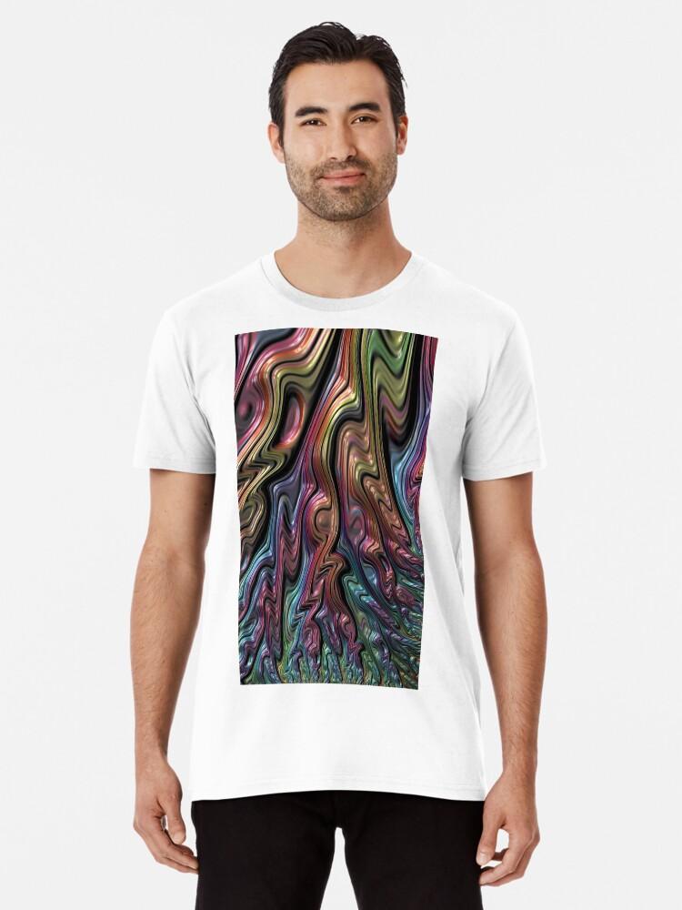 Metallic Oil Slick Rainbow 3d Abstract Art Premium T Shirt By Marbleddesign