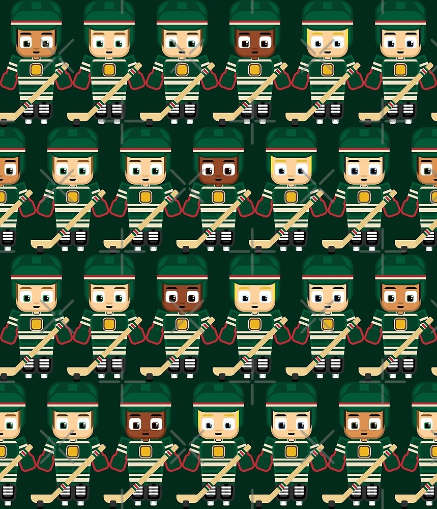 Ice Hockey Green - Super cute sports stars by boxedspaper