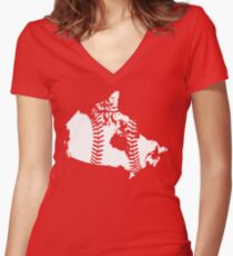 Canada Baseball (Red) Women's Fitted V-Neck T-Shirt