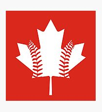 Maple Leaf Baseball (White) Photographic Print
