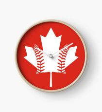 Maple Leaf Baseball (White) Clock