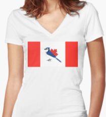 A Blue Bird - Canada Flag Women's Fitted V-Neck T-Shirt