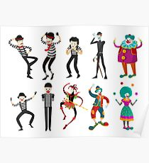 clowns mimes and harlequin Poster