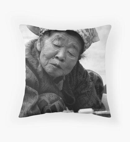 The Market Lady Throw Pillow
