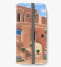 Taos Pueblo with Flowers iPhone Wallet/Case/Skin