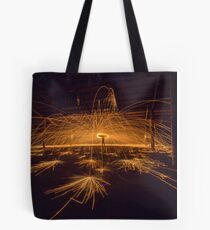 Helicopter Spin - Steel wool spinning, Bradmills abandoned factory, Yarraville, Victoria, Australia. Tote Bag