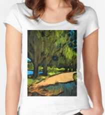 Trees along an Apricot Path Women's Fitted Scoop T-Shirt