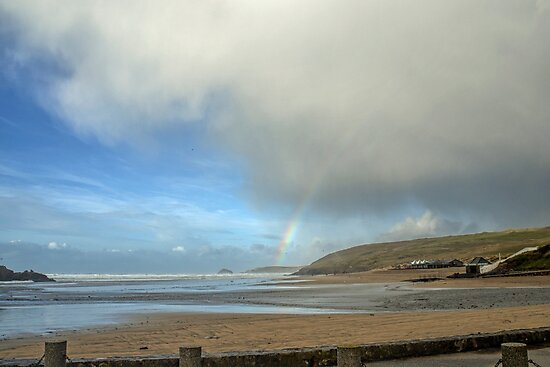 Start of a Rainbow at Perranporth,Cornwall, UK by lynn carter