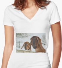 Goats in the snow  Women's Fitted V-Neck T-Shirt
