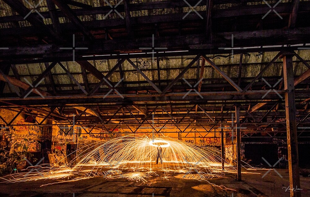 Helicopter Spin - Steel wool spinning in an abandoned factory, Yarraville, Victoria, Australia. by VickiWalsh