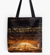 Helicopter Spin - Steel wool spinning in an abandoned factory, Yarraville, Victoria, Australia. Tote Bag