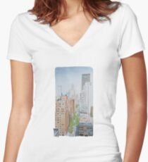Muted Morning Women's Fitted V-Neck T-Shirt