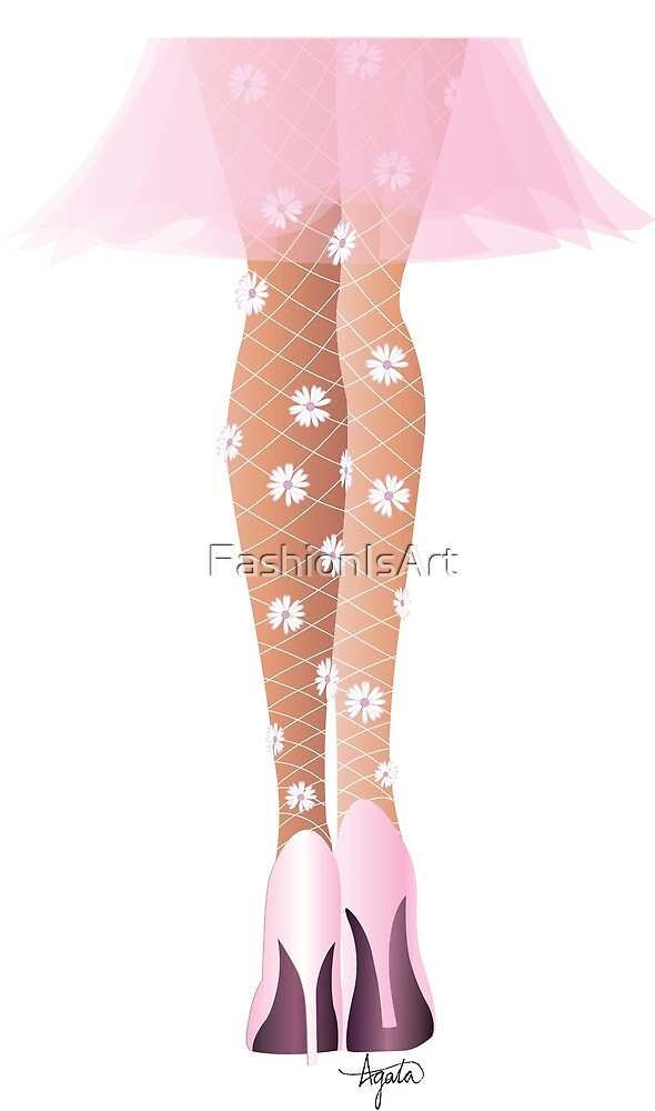Floral Embellished Fishnet Tights Fashion Illustration by FashionIsArt