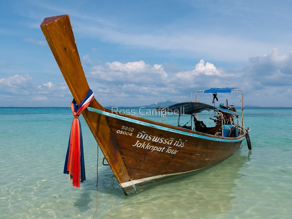 Long Tail Boat, Bamboo Island, Phi Phi Islands, Thailand by Ross Campbell