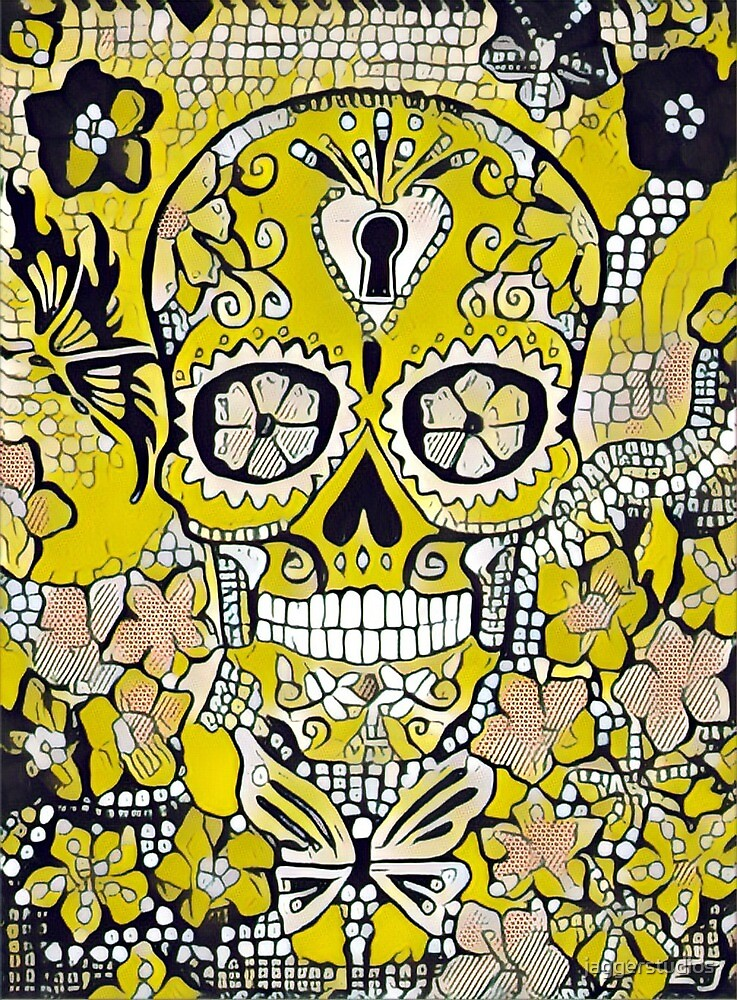 Skull Black And Yellow With Flowers by jaggerstudios