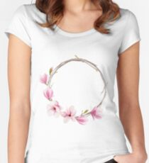 Watercolor magnolia wreath Women's Fitted Scoop T-Shirt