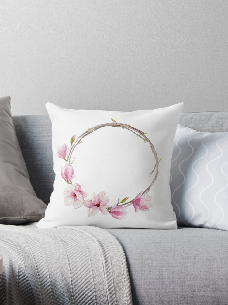 Watercolor magnolia wreath by Mesori