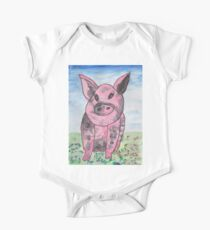 Pink and Black pig One Piece - Short Sleeve
