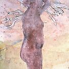 woman with mulga twigs in her hair by donna malone